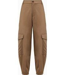 barena pantalone cargo in lana beige