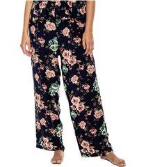 pantalón con elástico en cintura y estampado floral color blue