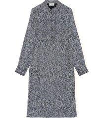 printed georgette long sleeve tiered dress in phantom