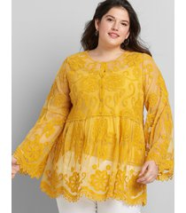 lane bryant women's embroidered mesh babydoll top 34/36 tropical yellow