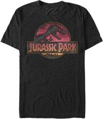 fifth sun jurassic park men's distressed gradient logo short sleeve t-shirt