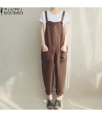zanzea pantalones largos pantalones en general las mujeres correa de espagueti pockets mono casual -marrón