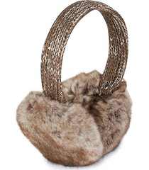 saks fifth avenue women's faux fur earmuffs - black