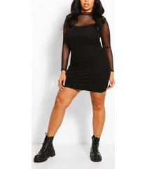 plus mesh top 2 in 1 slip dress, black