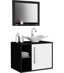 conjunto p/ banheiro baden preto/branco móveis bechara