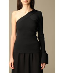 theory sweater stretch ribbed theory one-shoulder sweater
