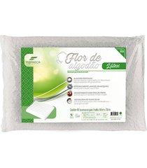 travesseiro 59x39x12 fibrasca flor de algodão látex lavável branco