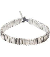 silver and black diamond large zig bracelet