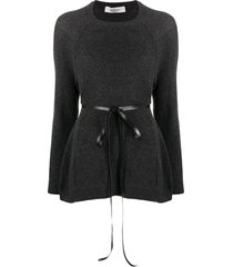 valentino ribbon belted jumper - grey