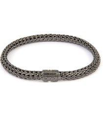 'classic chain' rhodium silver woven chain bracelet