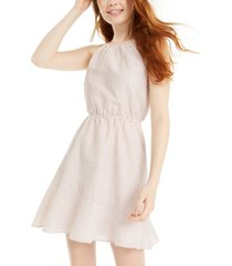sequin hearts juniors' textured-stripe a-line dress