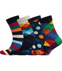 4-pack multi-color socks gift set underwear socks regular socks multi/mönstrad happy socks