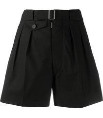 maison margiela belted tailored shorts - black