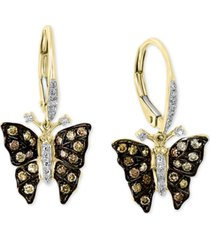 effy diamond butterfly drop earrings (1/2 ct. t.w.) in 14k gold