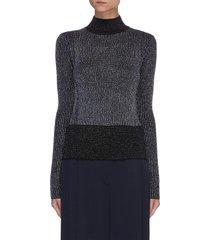 turtleneck merino lurex rib knit sweater