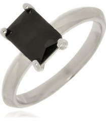 anel pedra retangular ônix di capri semi jóias x ouro branco prata