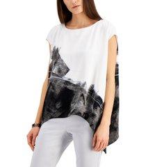 alfani abstract-print asymmetrical-hem top, created for macy's