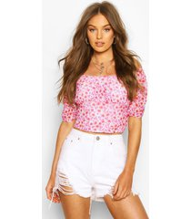 ditsy floral mesh puff sleeve top, red