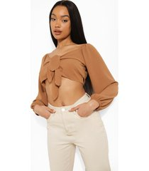double off shoulder blouse met strik, tan