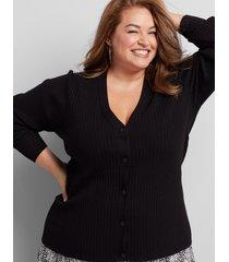 lane bryant women's ribbed button-front cardigan 26/28 black