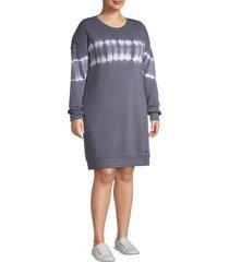 marc new york performance women's plus tie-dye stripe dress - antique denim - size 1x (14-16)