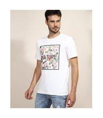 "camiseta masculina floral nature"" manga curta gola careca branca"""