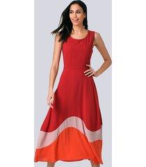 jurk alba moda rood::nude::oranje