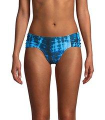 tie-dye ruched bikini bottoms