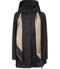 herno scarf lace detail hooded parka