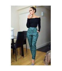 bella luipaard print broek groen