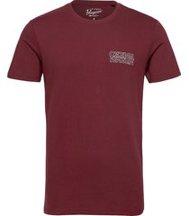 embroidered type logo t-shirt t-shirts short-sleeved röd original penguin