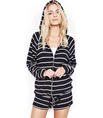 zayne zip up hoodie - xs navy stripe