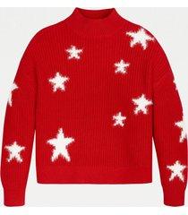sweater cuello perkins estrellas rojo tommy hilfiger