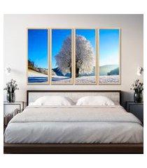 kit 4 quadro oppen house s 75x120cm árvore de neve paisagem de inverno decoração luxo para quartos salas      quadro oppen house s decorativos
