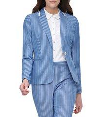 stripe one-button jacket