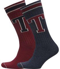 th men th patch sock 2p underwear socks regular socks röd tommy hilfiger