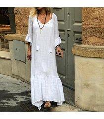 zanzea vestido largo de manga larga acampanada para mujer vestido largo con dobladillo plisado de gran tamaño -blanco