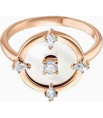 anillo con motivo norte, blanco, baño de oro rosa 5495776