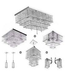 kit 8 peças lustre luminária pendente arandela cristal acr.