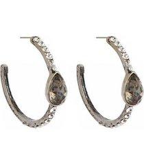 brinco armazem rr bijoux médio argola gota cristal feminino - feminino