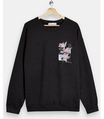 mens black lily print sweatshirt