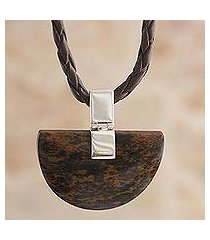 mahogany obsidian pendant necklace, 'majestic blade' (peru)