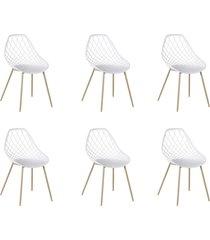 conjunto 06 cadeiras cloe base aço branco