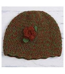 alpaca blend hat, 'floral warmth' (peru)
