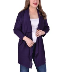 ny collection women's plus size long sleeve wide lapel cardigan