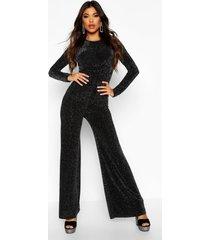 glitter knot front jumpsuit, black