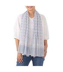 cotton batik scarf, 'cloudy batik' (thailand)