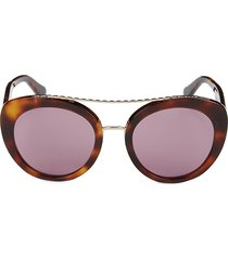 roberto cavalli women's 54mm cat eye chain-linked sunglasses - havana violet