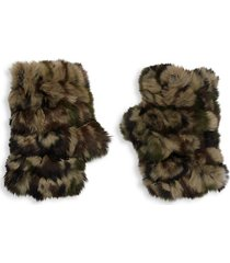 camo rabbit fur fingerless mittens