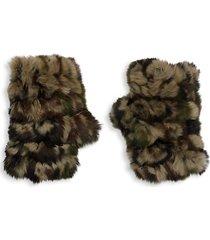 camo rabbit fur fingerless mittens